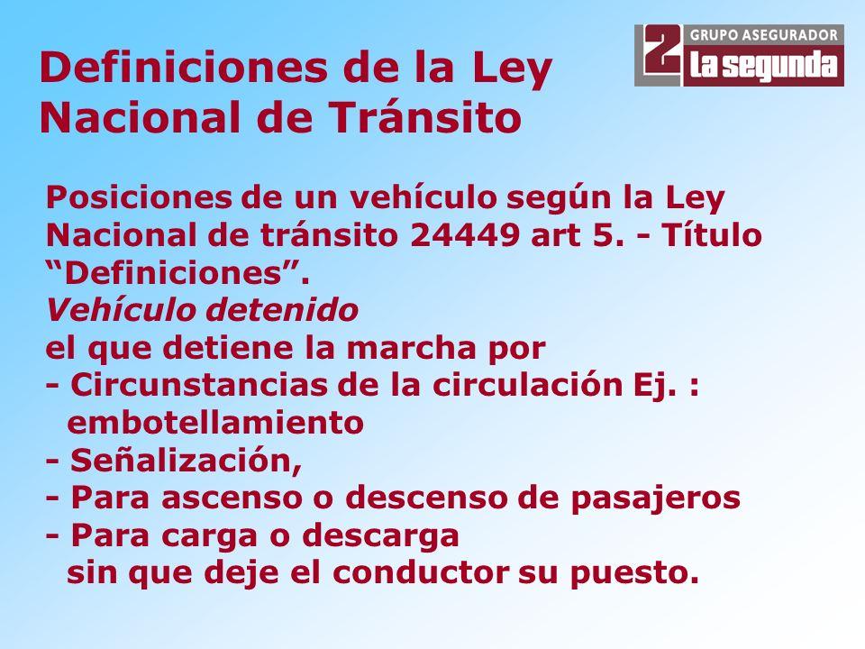 Posiciones de un vehículo según la Ley Nacional de tránsito 24449 art 5.