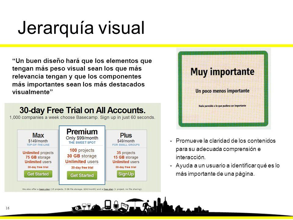 16 Jerarquía visual -Promueve la claridad de los contenidos para su adecuada comprensión e interacción.