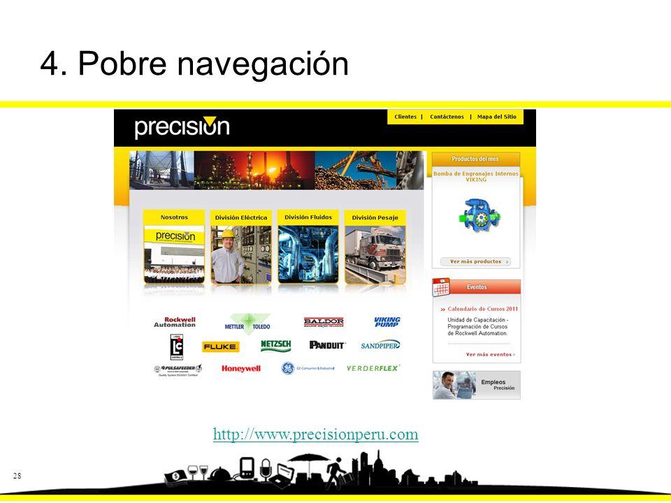 28 4. Pobre navegación http://www.precisionperu.com