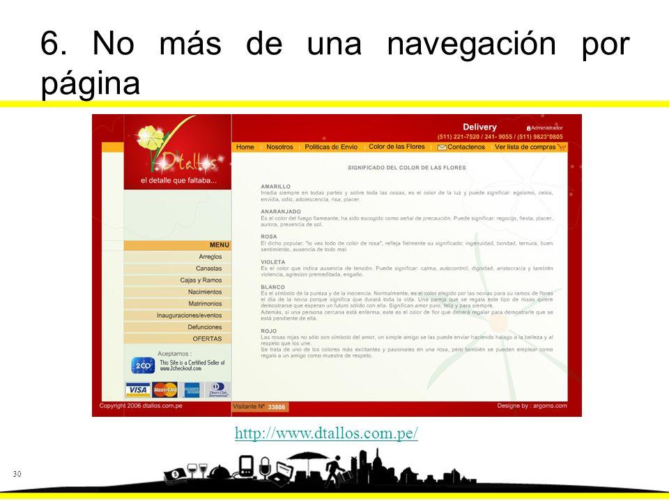 30 6. No más de una navegación por página http://www.dtallos.com.pe/