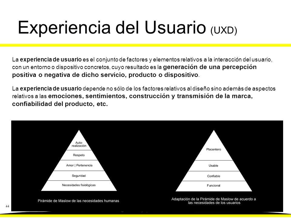 44 Experiencia del Usuario (UXD) La experiencia de usuario es el conjunto de factores y elementos relativos a la interacción del usuario, con un entorno o dispositivo concretos, cuyo resultado es la generación de una percepción positiva o negativa de dicho servicio, producto o dispositivo.