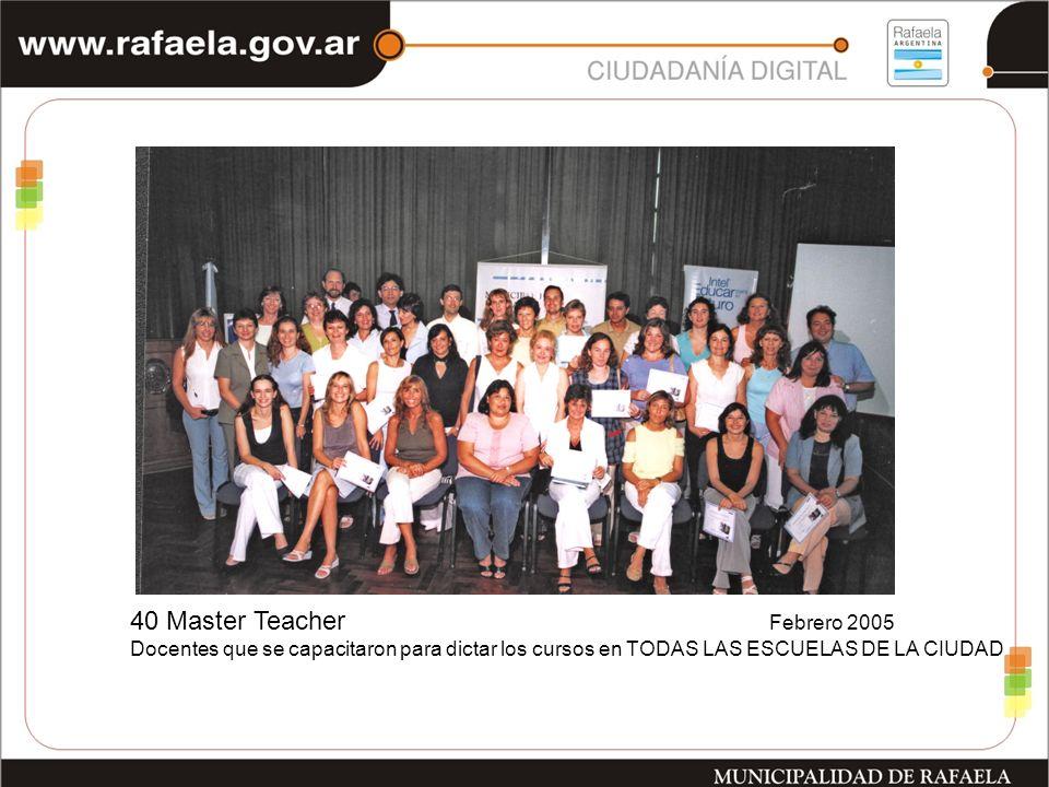 40 Master Teacher Febrero 2005 Docentes que se capacitaron para dictar los cursos en TODAS LAS ESCUELAS DE LA CIUDAD