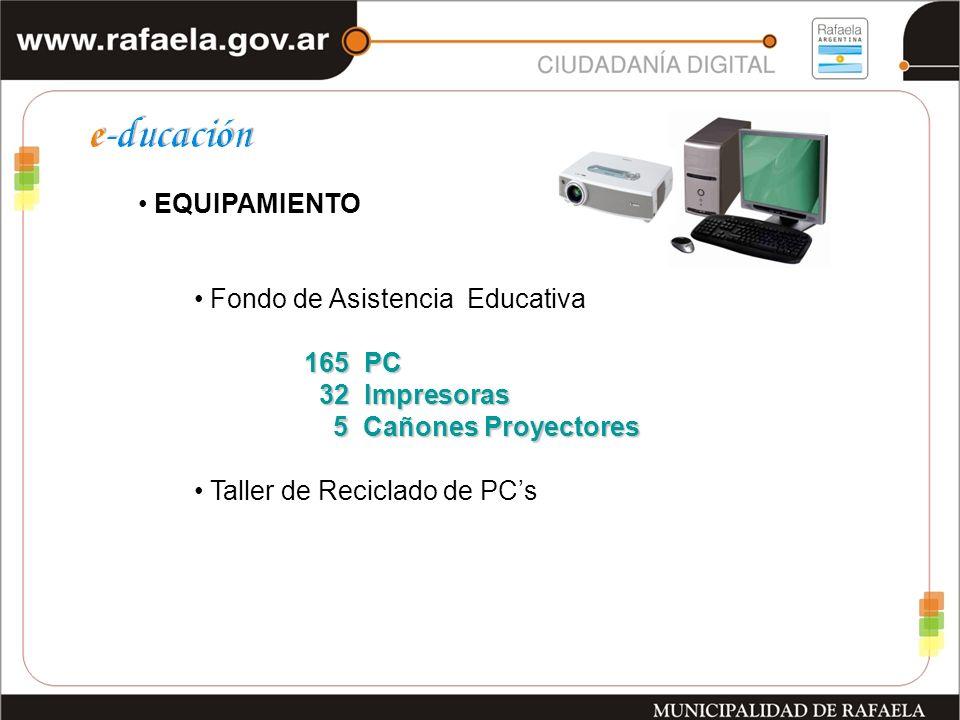 Fondo de Asistencia Educativa 165 PC 165 PC 32 Impresoras 32 Impresoras 5 Cañones Proyectores 5 Cañones Proyectores Taller de Reciclado de PCs EQUIPAMIENTO