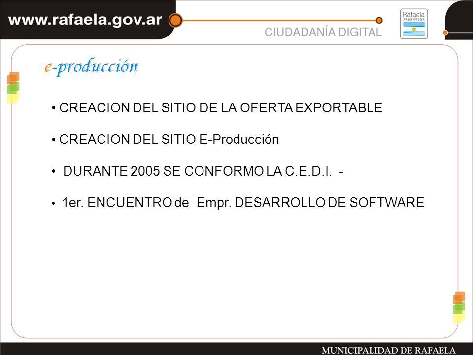 CREACION DEL SITIO DE LA OFERTA EXPORTABLE CREACION DEL SITIO E-Producción DURANTE 2005 SE CONFORMO LA C.E.D.I.