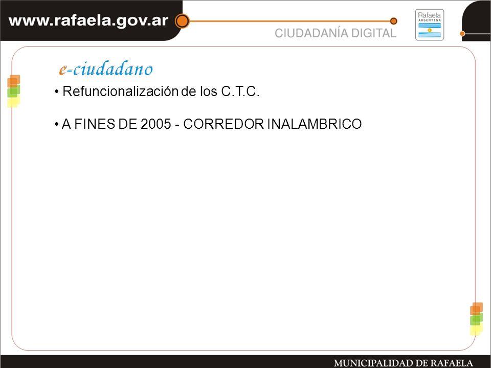 Refuncionalización de los C.T.C. A FINES DE 2005 - CORREDOR INALAMBRICO