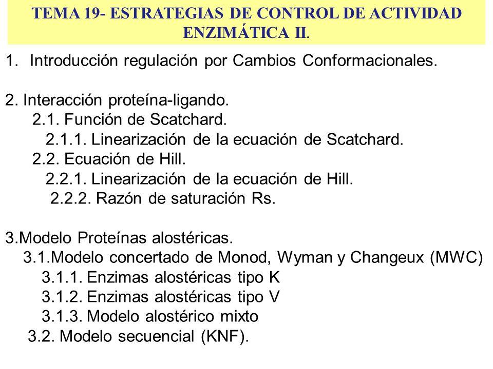 TEMA 19- ESTRATEGIAS DE CONTROL DE ACTIVIDAD ENZIMÁTICA II. 1.Introducción regulación por Cambios Conformacionales. 2. Interacción proteína-ligando. 2