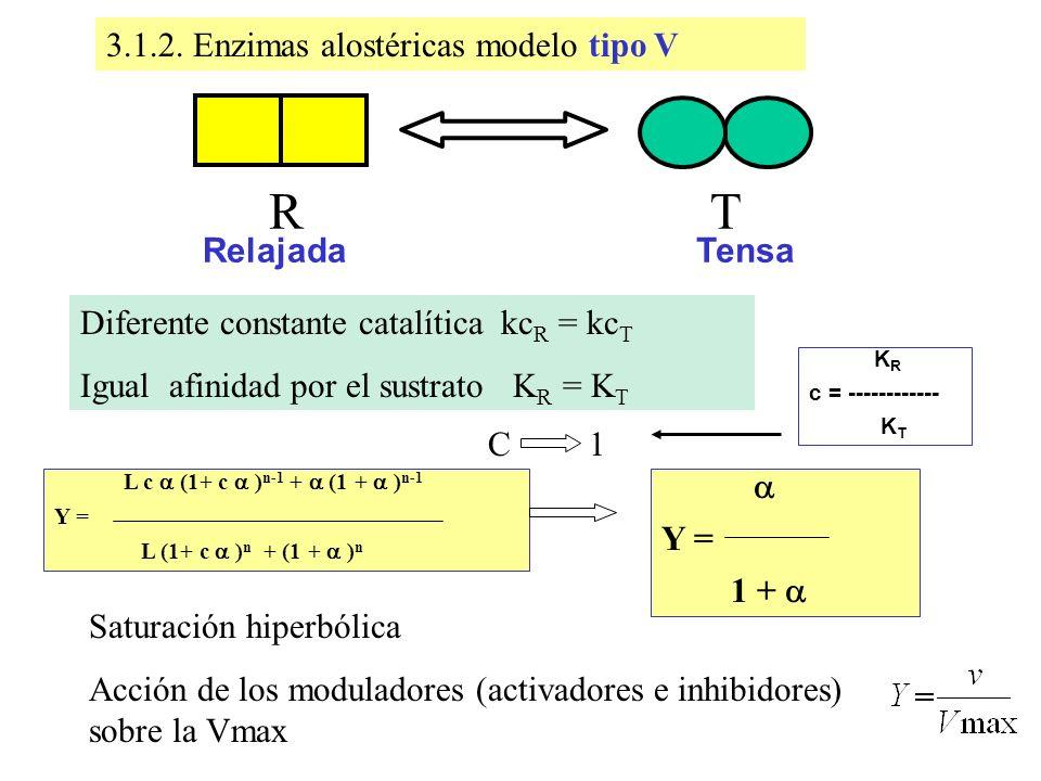 Enzimas alostéricas modelo tipo V3.1.2. Enzimas alostéricas modelo tipo V Diferente constante catalítica kc R = kc T Igual afinidad por el sustrato K
