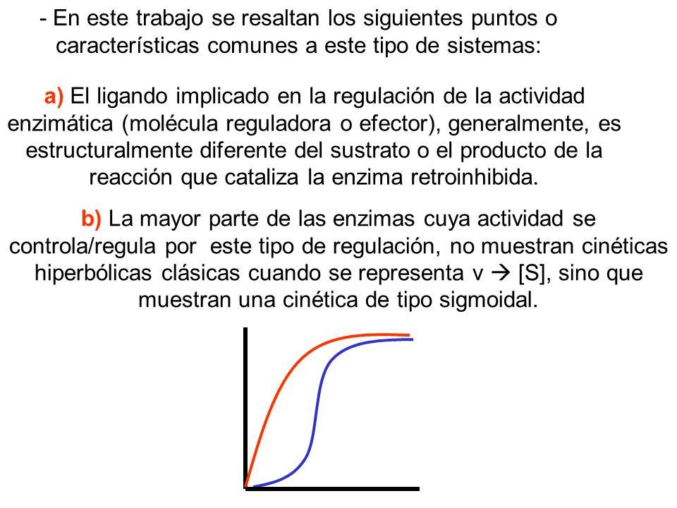 - En este trabajo se resaltan los siguientes puntos o características comunes a este tipo de sistemas: a) El ligando implicado en la regulación de la
