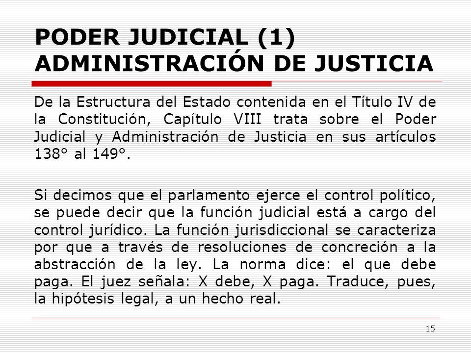 PODER JUDICIAL (1) ADMINISTRACIÓN DE JUSTICIA De la Estructura del Estado contenida en el Título IV de la Constitución, Capítulo VIII trata sobre el P