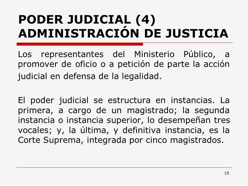 PODER JUDICIAL (4) ADMINISTRACIÓN DE JUSTICIA Los representantes del Ministerio Público, a promover de oficio o a petición de parte la acción judicial
