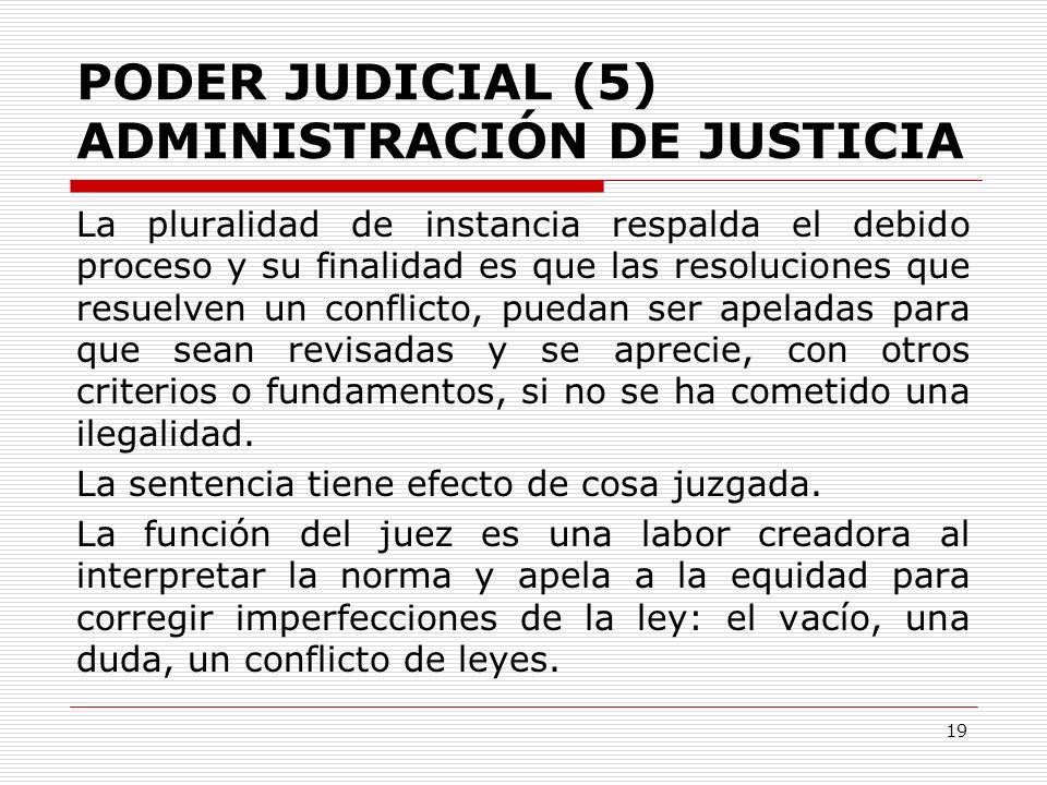 PODER JUDICIAL (5) ADMINISTRACIÓN DE JUSTICIA La pluralidad de instancia respalda el debido proceso y su finalidad es que las resoluciones que resuelv