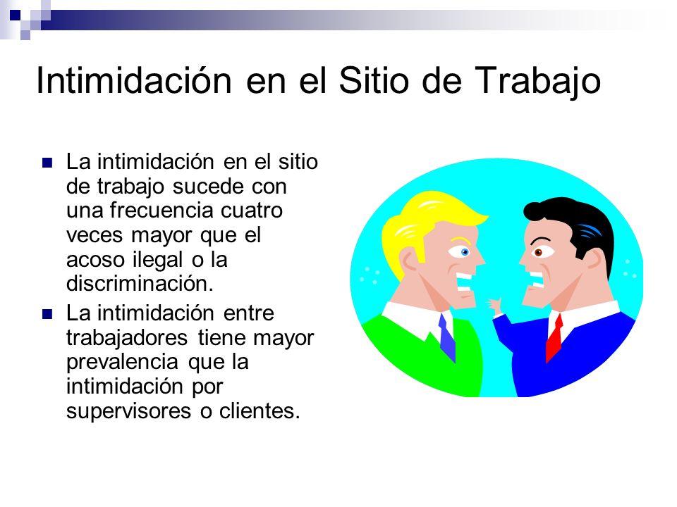 Intimidación en el Sitio de Trabajo La intimidación en el sitio de trabajo sucede con una frecuencia cuatro veces mayor que el acoso ilegal o la discriminación.