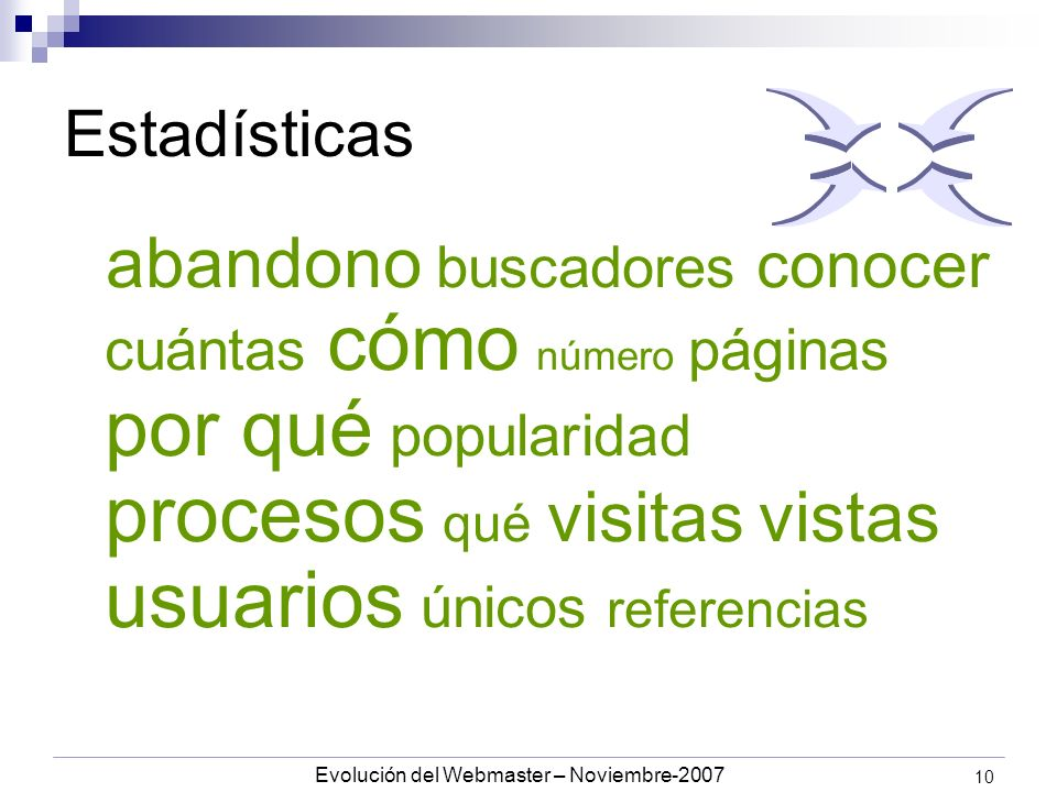 Evolución del Webmaster – Noviembre-2007 10 Estadísticas abandono buscadores conocer cuántas cómo número páginas por qué popularidad procesos qué visitas vistas usuarios únicos referencias