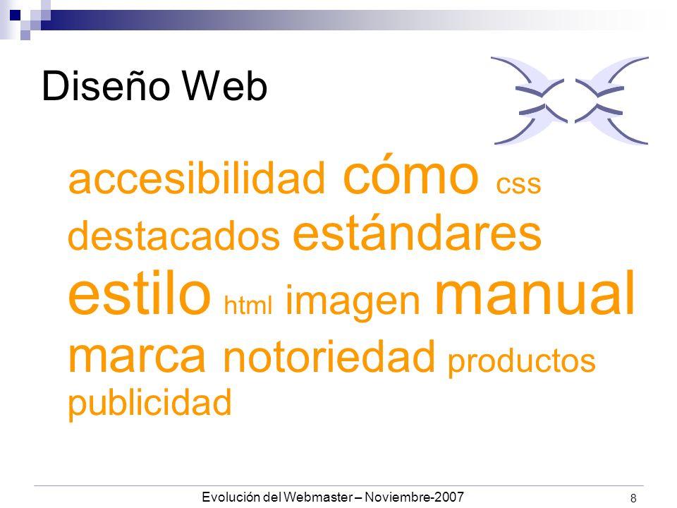 Evolución del Webmaster – Noviembre-2007 8 Diseño Web accesibilidad cómo css destacados estándares estilo html imagen manual marca notoriedad productos publicidad
