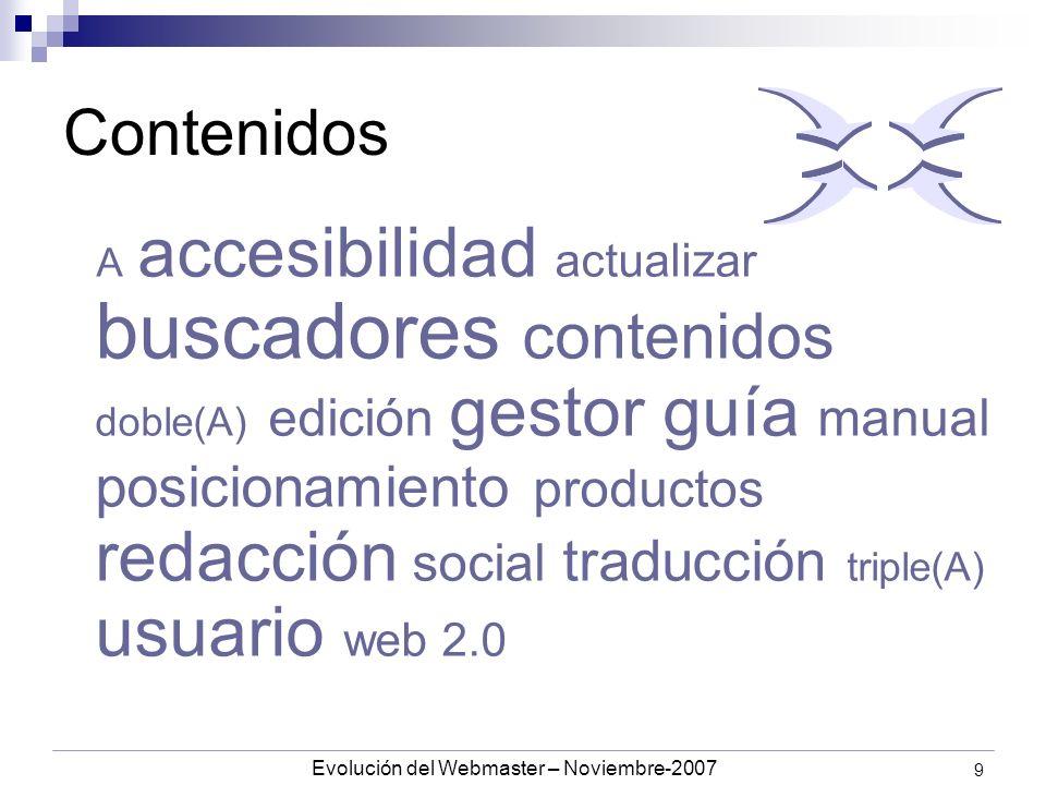Evolución del Webmaster – Noviembre-2007 9 Contenidos A accesibilidad actualizar buscadores contenidos doble(A) edición gestor guía manual posicionamiento productos redacción social traducción triple(A) usuario web 2.0