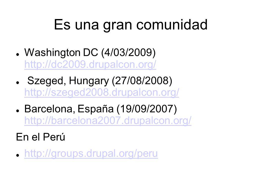 Es una gran comunidad Washington DC (4/03/2009) http://dc2009.drupalcon.org/ http://dc2009.drupalcon.org/ Szeged, Hungary (27/08/2008) http://szeged2008.drupalcon.org/ http://szeged2008.drupalcon.org/ Barcelona, España (19/09/2007) http://barcelona2007.drupalcon.org/ http://barcelona2007.drupalcon.org/ En el Perú http://groups.drupal.org/peru