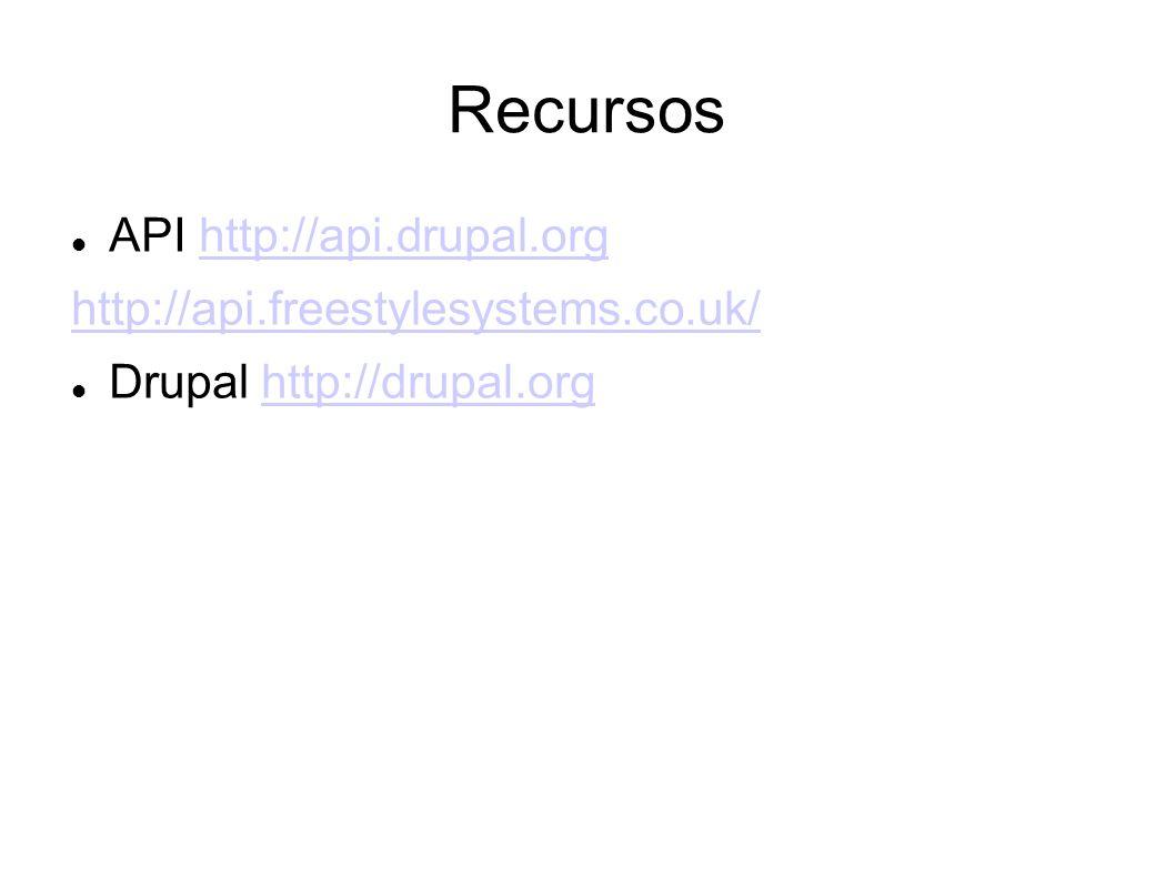 Recursos API http://api.drupal.orghttp://api.drupal.org http://api.freestylesystems.co.uk/ Drupal http://drupal.orghttp://drupal.org