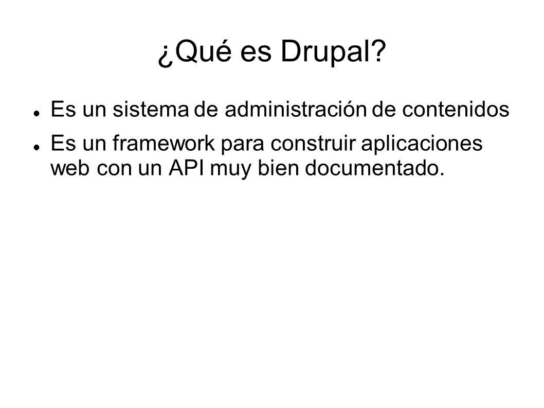 Es un sistema de administración de contenidos Es un framework para construir aplicaciones web con un API muy bien documentado.
