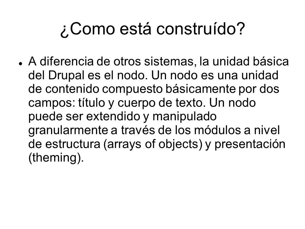 A diferencia de otros sistemas, la unidad básica del Drupal es el nodo.