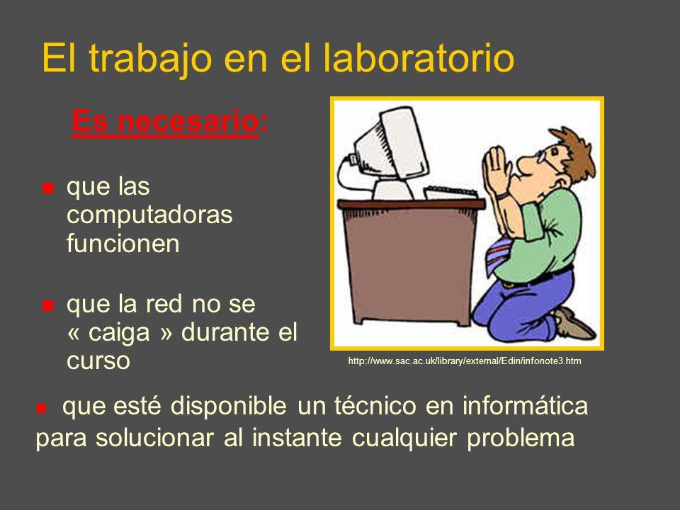 El trabajo en el laboratorio Es necesario: que las computadoras funcionen que la red no se « caiga » durante el curso http://www.ix-pcs.com/ que esté disponible un técnico en informática para solucionar al instante cualquier problema http://www.sac.ac.uk/library/external/Edin/infonote3.htm