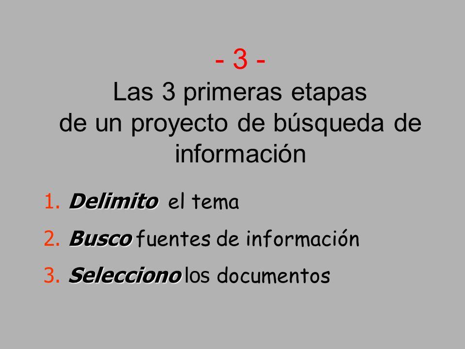 - 3 - Las 3 primeras etapas de un proyecto de búsqueda de información Delimito 1.