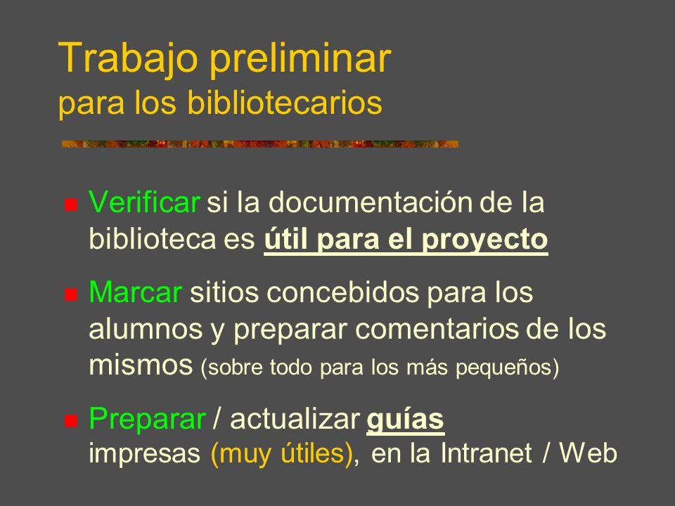 Trabajo preliminar para los bibliotecarios Verificar si la documentación de la biblioteca es útil para el proyecto Marcar sitios concebidos para los alumnos y preparar comentarios de los mismos (sobre todo para los más pequeños) Preparar / actualizar guías impresas (muy útiles), en la Intranet / Web