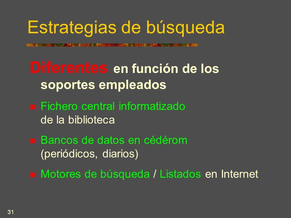 31 Estrategias de búsqueda Diferentes en función de los soportes empleados Fichero central informatizado de la biblioteca Bancos de datos en cédérom (periódicos, diarios) Motores de búsqueda / Listados en Internet