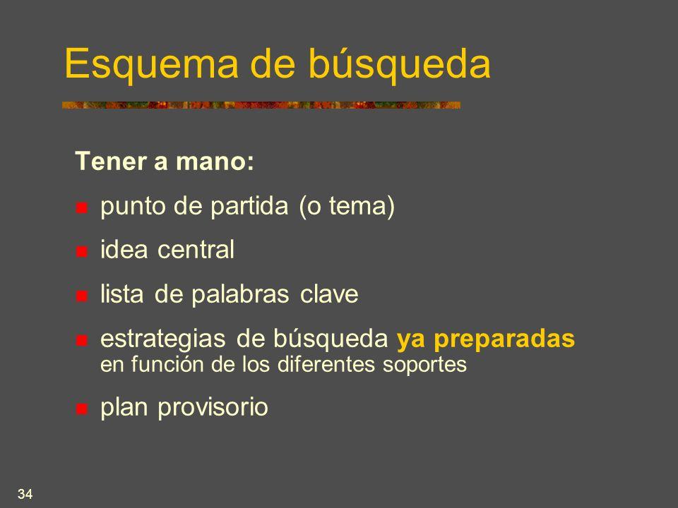 34 Esquema de búsqueda Tener a mano: punto de partida (o tema) idea central lista de palabras clave estrategias de búsqueda ya preparadas en función de los diferentes soportes plan provisorio