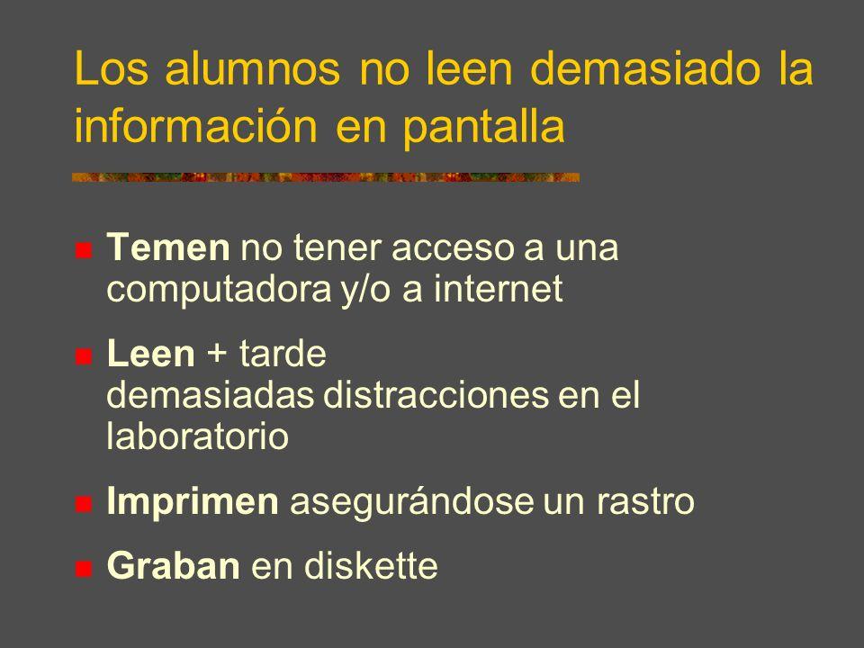 Los alumnos no leen demasiado la información en pantalla Temen no tener acceso a una computadora y/o a internet Leen + tarde demasiadas distracciones en el laboratorio Imprimen asegurándose un rastro Graban en diskette