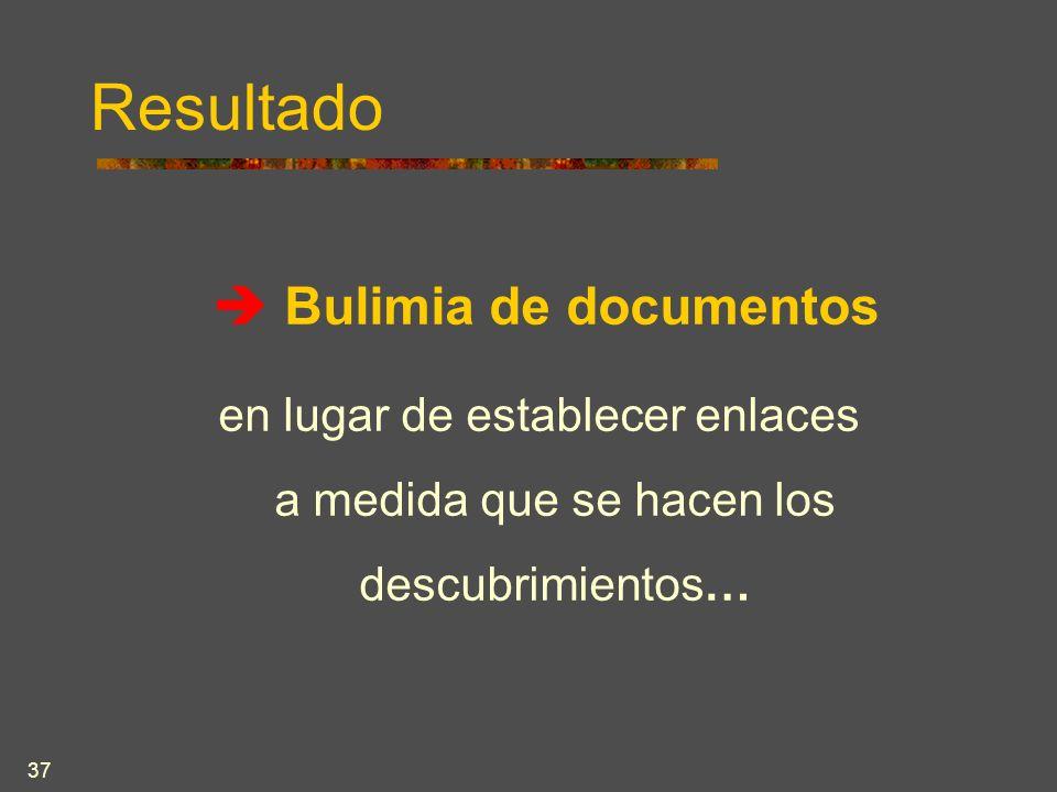37 Resultado Bulimia de documentos en lugar de establecer enlaces a medida que se hacen los descubrimientos…