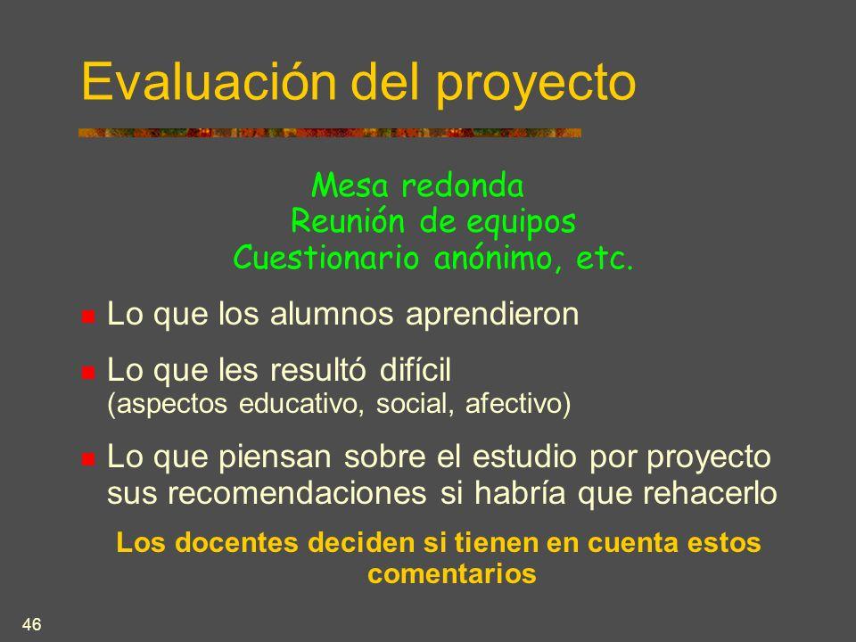 46 Evaluación del proyecto Mesa redonda Reunión de equipos Cuestionario anónimo, etc.