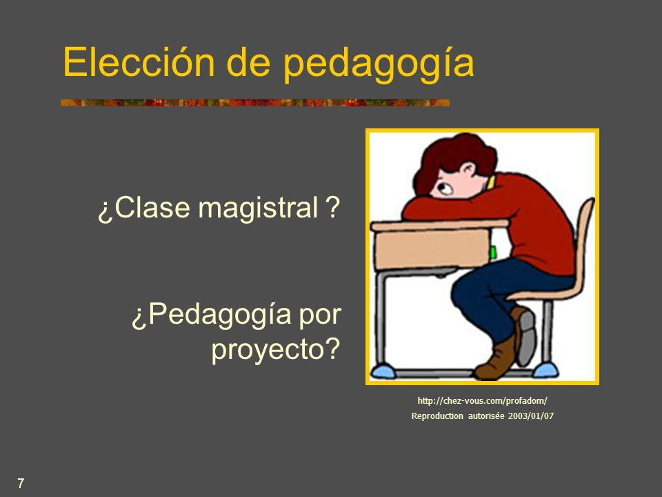 7 Elección de pedagogía ¿Clase magistral . ¿Pedagogía por proyecto.
