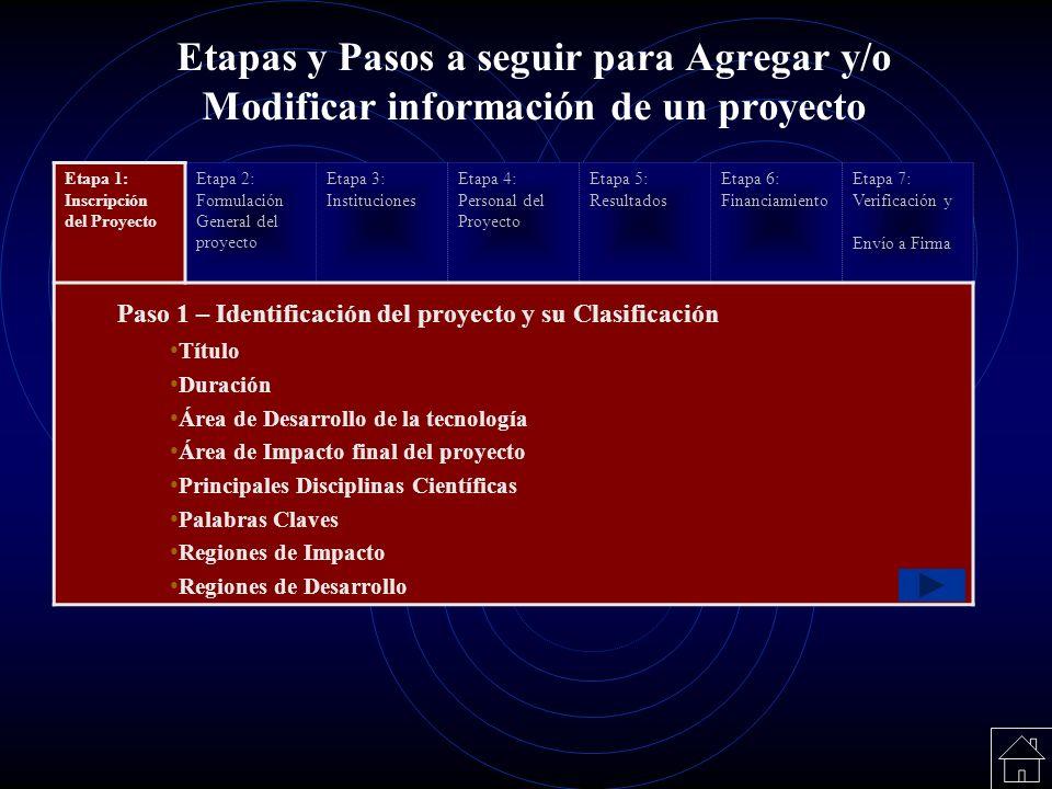 Etapas y Pasos a seguir para Agregar y/o Modificar información de un proyecto Etapa 1: Inscripción del Proyecto Etapa 2: Formulación General del proye