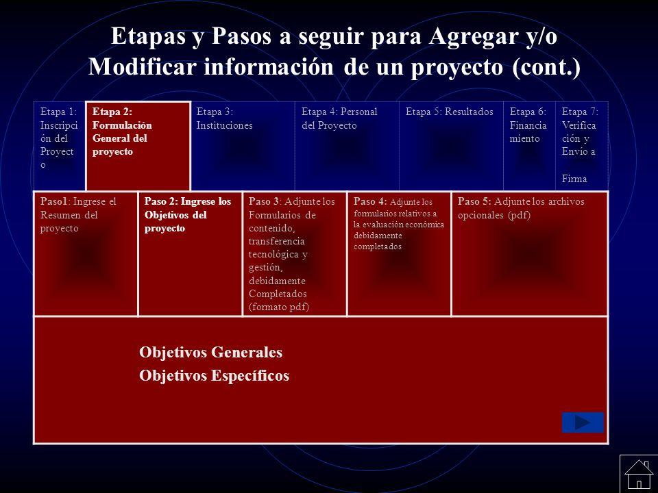 Etapas y Pasos a seguir para Agregar y/o Modificar información de un proyecto (cont.) Etapa 1: Inscripci ón del Proyect o Etapa 2: Formulación General