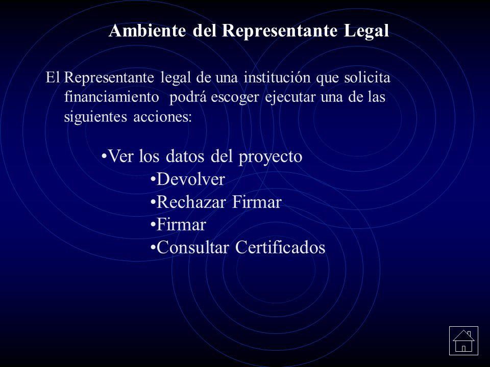 El Representante legal de una institución que solicita financiamiento podrá escoger ejecutar una de las siguientes acciones: Ambiente del Representant
