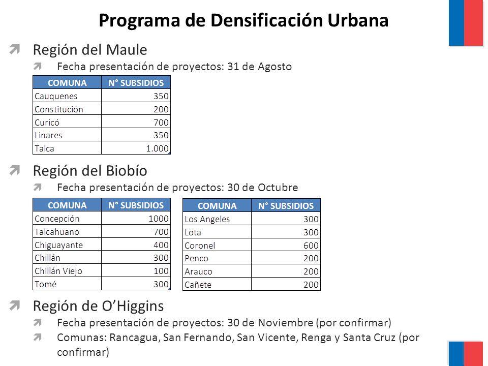 Programa de Densificación Urbana Región del Maule Fecha presentación de proyectos: 31 de Agosto Región del Biobío Fecha presentación de proyectos: 30