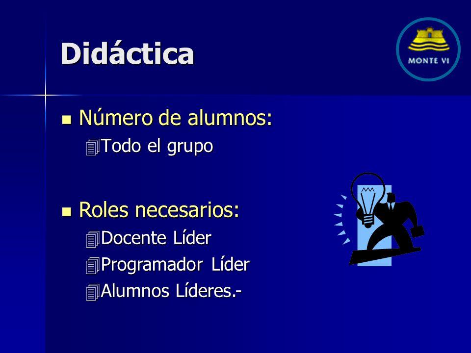 Didáctica Número de alumnos: Número de alumnos: 4Todo el grupo Roles necesarios: Roles necesarios: 4Docente Líder 4Programador Líder 4Alumnos Líderes.-