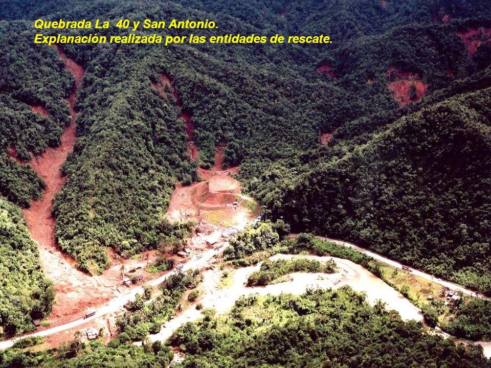 Quebrada La 40 y San Antonio. Explanación realizada por las entidades de rescate.