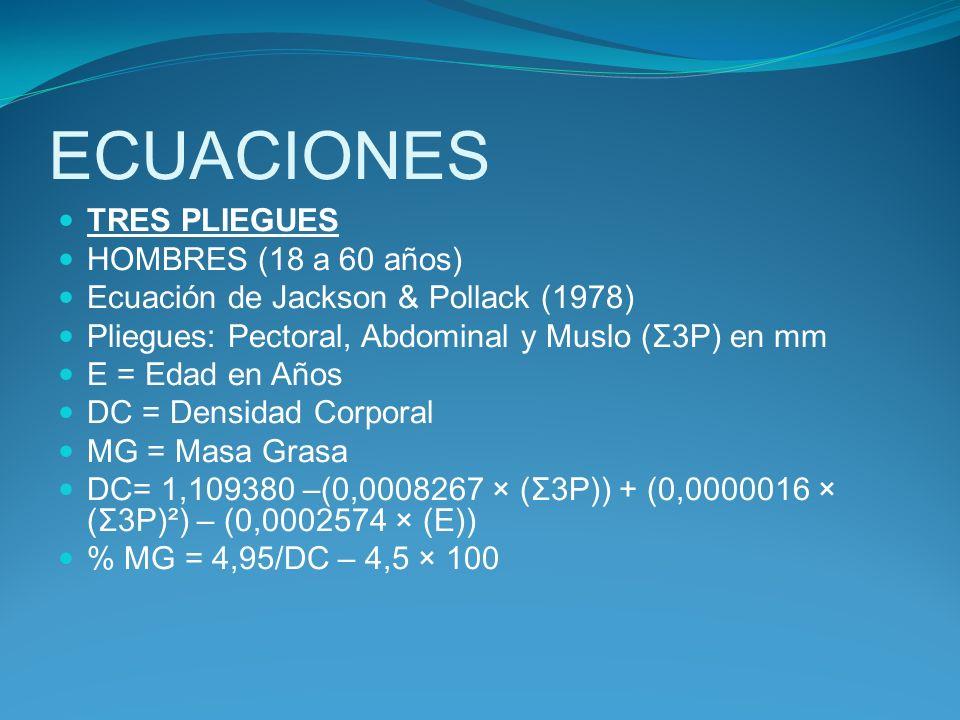 ECUACIONES TRES PLIEGUES HOMBRES (18 a 60 años) Ecuación de Jackson & Pollack (1978) Pliegues: Pectoral, Abdominal y Muslo (Σ3P) en mm E = Edad en Año