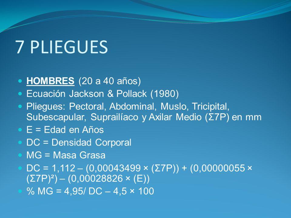 7 PLIEGUES HOMBRES (20 a 40 años) Ecuación Jackson & Pollack (1980) Pliegues: Pectoral, Abdominal, Muslo, Tricipital, Subescapular, Suprailíaco y Axil