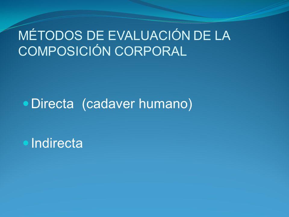 MÉTODOS DE EVALUACIÓN DE LA COMPOSICIÓN CORPORAL Directa (cadaver humano) Indirecta
