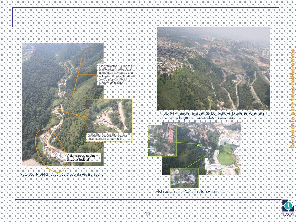 Documento para fines deliberativos 10 Vista aérea de la Cañada Vista Hermosa Foto 55.- Problemática que presenta Río Borracho Foto 54.- Panorámica del