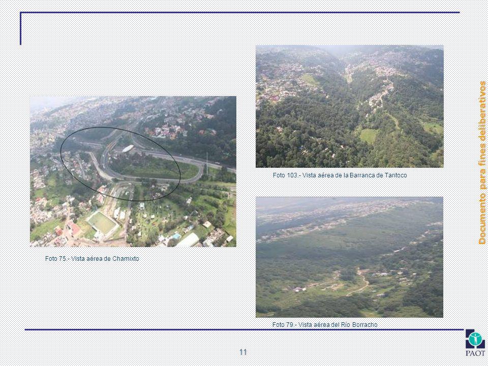 Documento para fines deliberativos 11 Foto 75.- Vista aérea de Chamixto Foto 79.- Vista aérea del Río Borracho Foto 103.- Vista aérea de la Barranca d