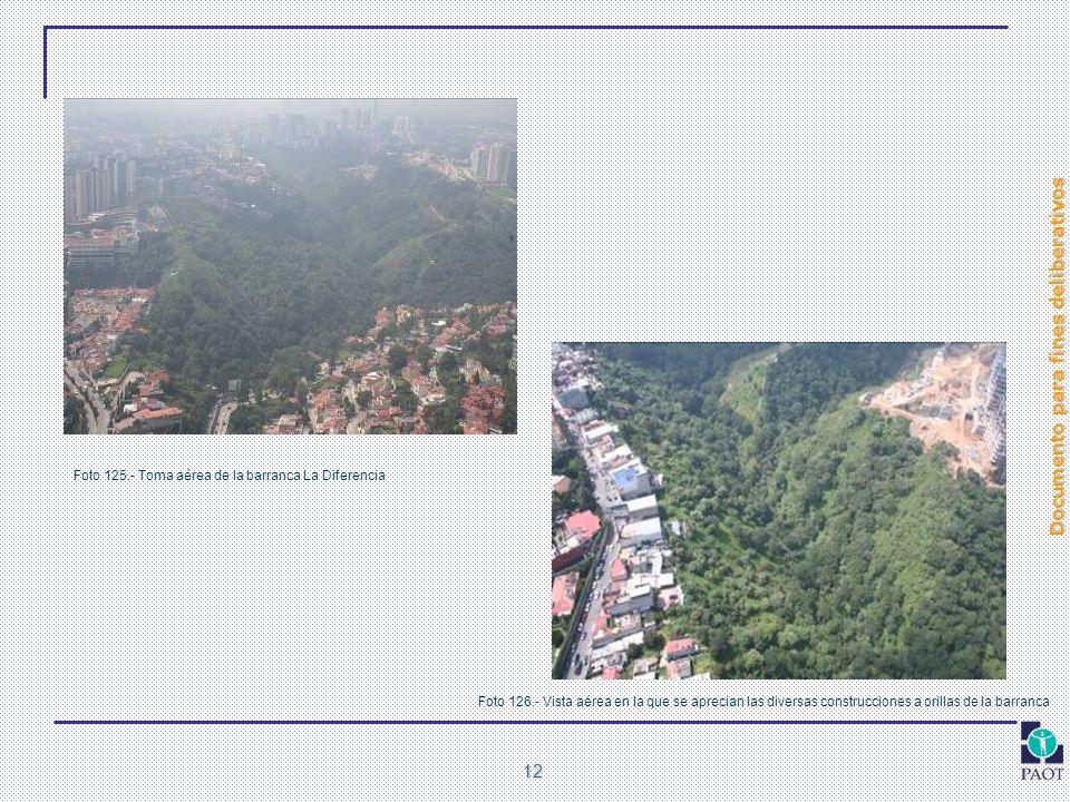 Documento para fines deliberativos 12 Foto 125.- Toma aérea de la barranca La Diferencia Foto 126.- Vista aérea en la que se aprecian las diversas con