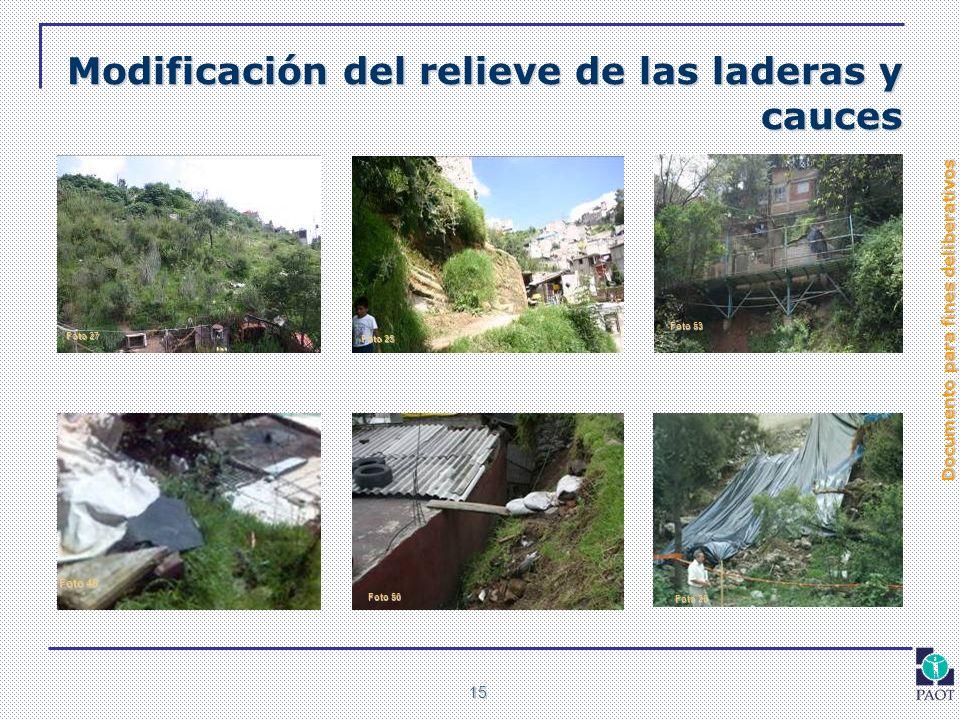 Documento para fines deliberativos 15 Modificación del relieve de las laderas y cauces Foto 20 Foto 27 Foto 25 Foto 46 Foto 50 Foto 53