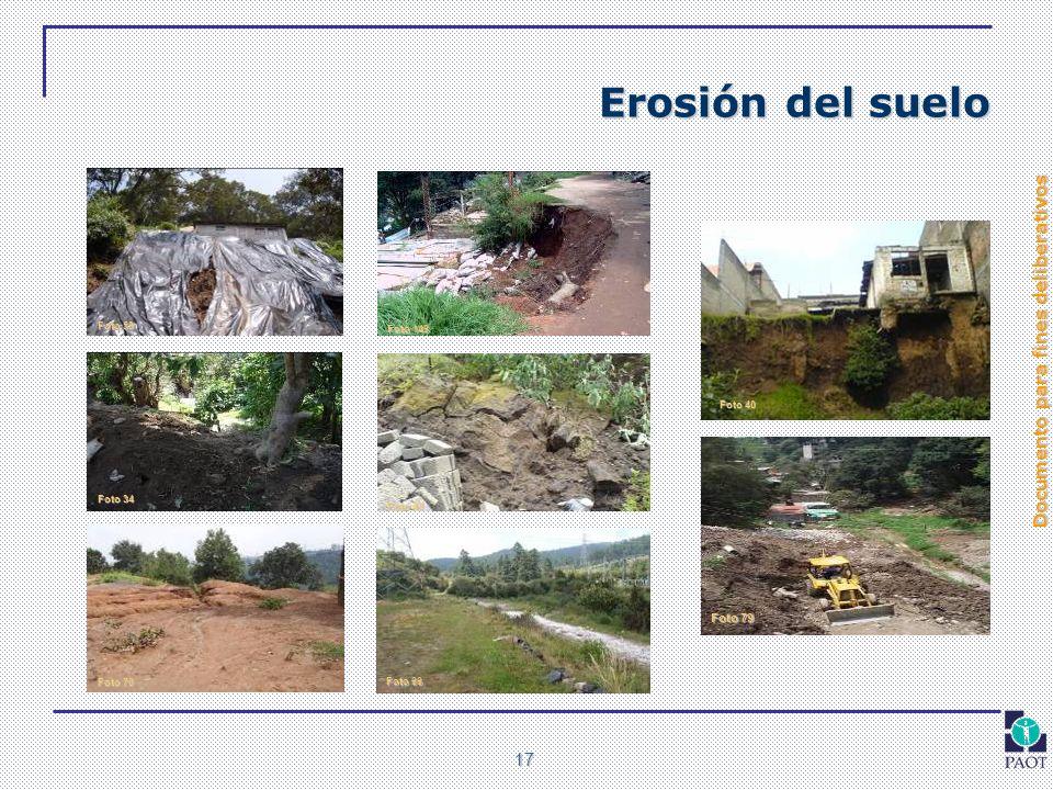 Documento para fines deliberativos 17 Erosión del suelo Foto 34 Foto 40 Foto 43 Foto 59 Foto 66 Foto 70 Foto 79 Foto 146