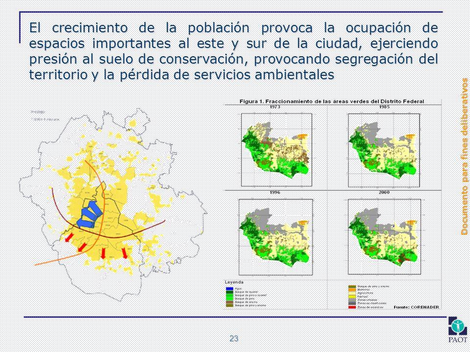 Documento para fines deliberativos 23 El crecimiento de la población provoca la ocupación de espacios importantes al este y sur de la ciudad, ejercien