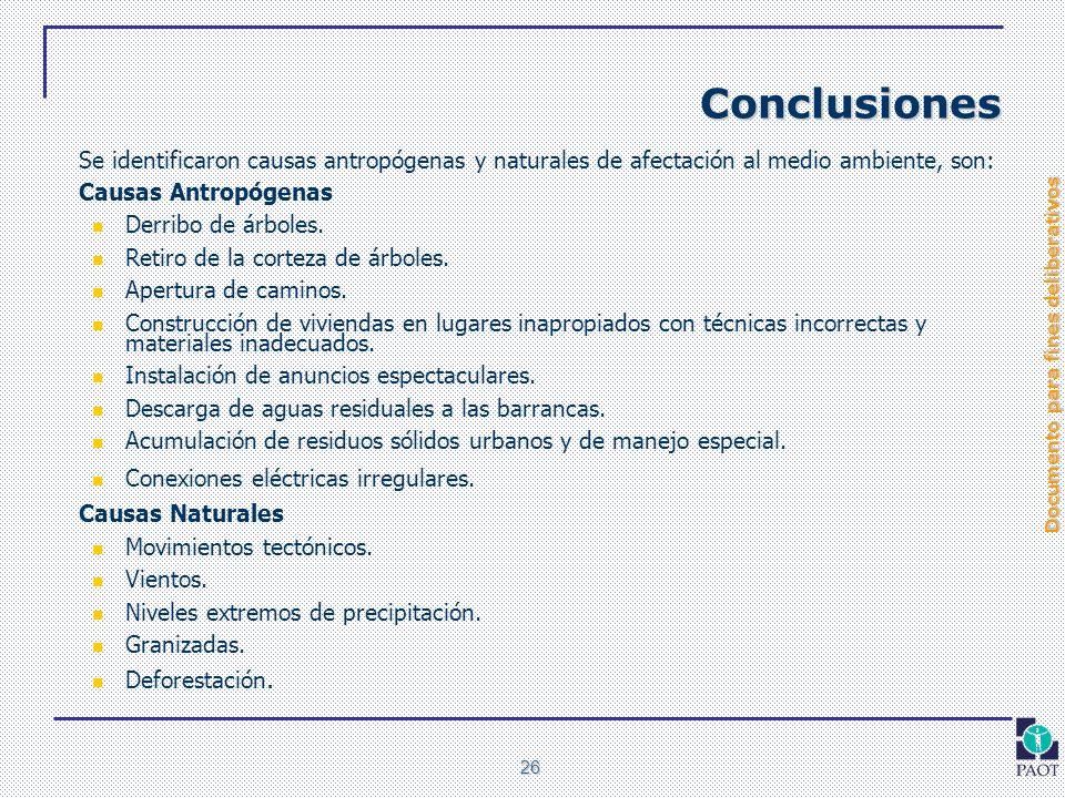 Documento para fines deliberativos 26 Conclusiones Se identificaron causas antropógenas y naturales de afectación al medio ambiente, son: Causas Antro