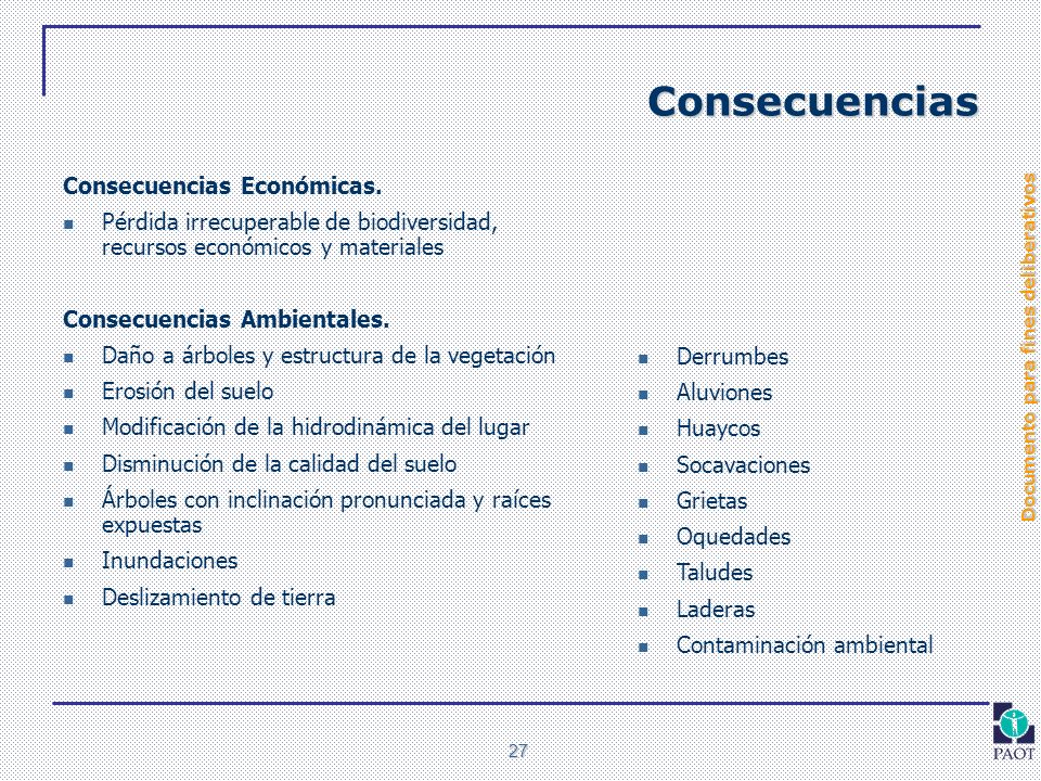 Documento para fines deliberativos 27 Consecuencias Consecuencias Económicas. Pérdida irrecuperable de biodiversidad, recursos económicos y materiales