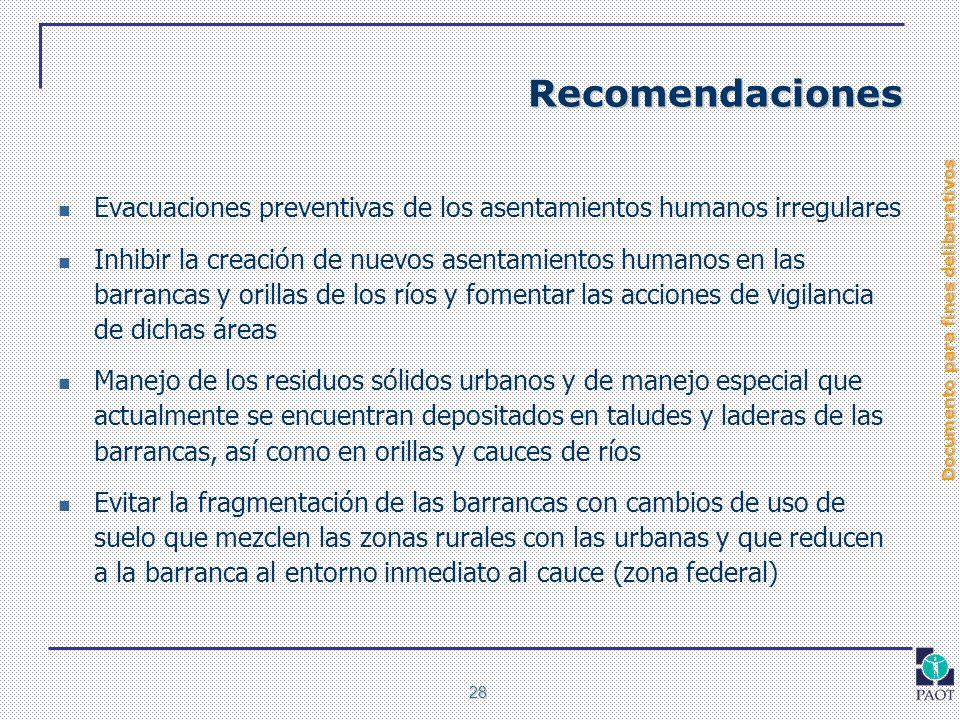 Documento para fines deliberativos 28 Recomendaciones Evacuaciones preventivas de los asentamientos humanos irregulares Inhibir la creación de nuevos